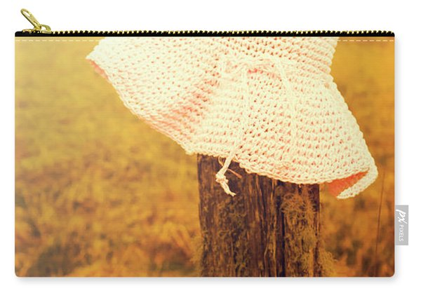 White Knitted Hat On Farm Fence Carry-all Pouch