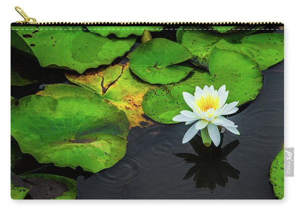 White Lily And Rippled Water Carry-all Pouch