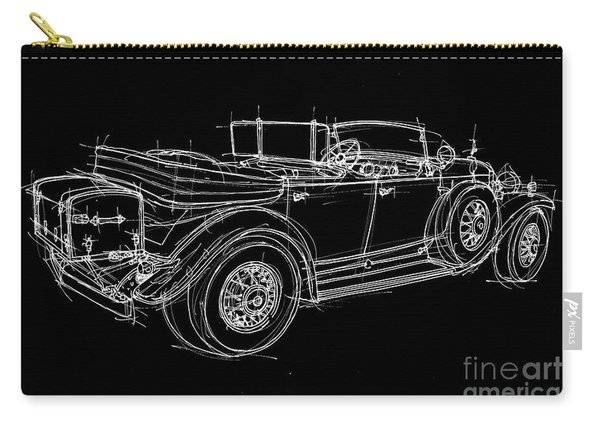 White Line Black Background Classic Car Original Handmade Drawing Carry-all Pouch