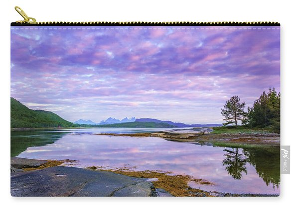 Carry-all Pouch featuring the photograph White Night In Nordkilpollen Cove by Dmytro Korol