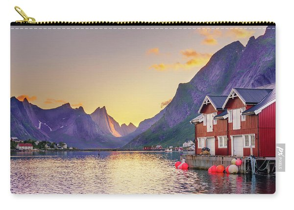 Carry-all Pouch featuring the photograph White Night In Reine by Dmytro Korol