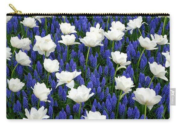 White On Blue Carry-all Pouch