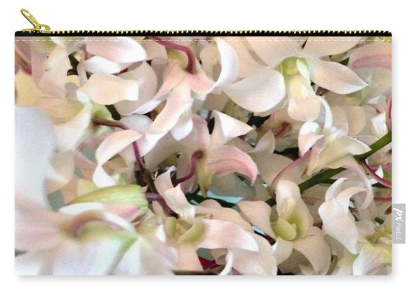 White Orchid Cluster Carry-all Pouch