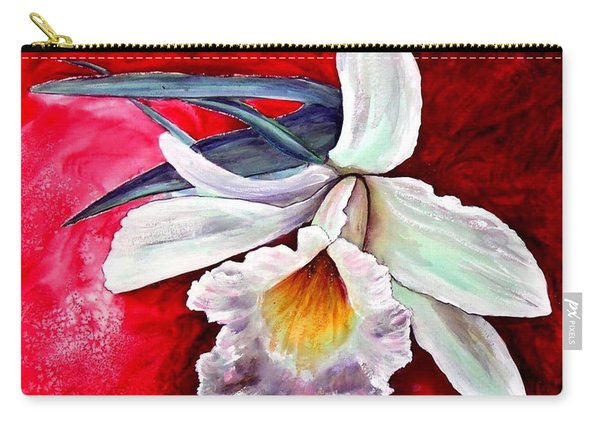 Carry-all Pouch featuring the painting White Orchid by Ryn Shell