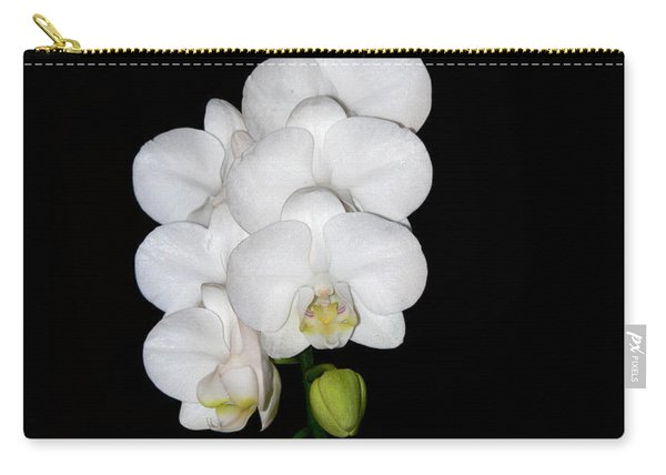 White Orchids On Black Carry-all Pouch