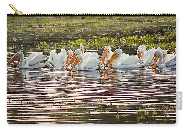 White Pelican Parade Carry-all Pouch