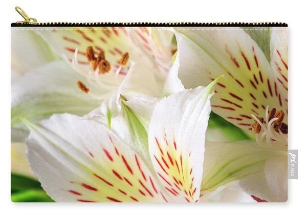 Carry-all Pouch featuring the photograph White Peruvian Lilies In Bloom by Richard J Thompson