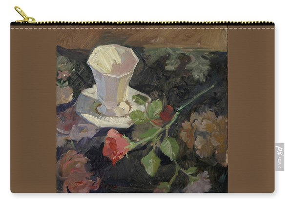 White Porcelain And Roses Carry-all Pouch