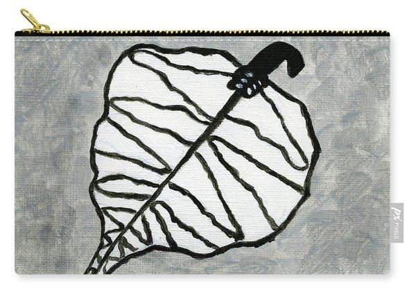White Retro Leaf Carry-all Pouch