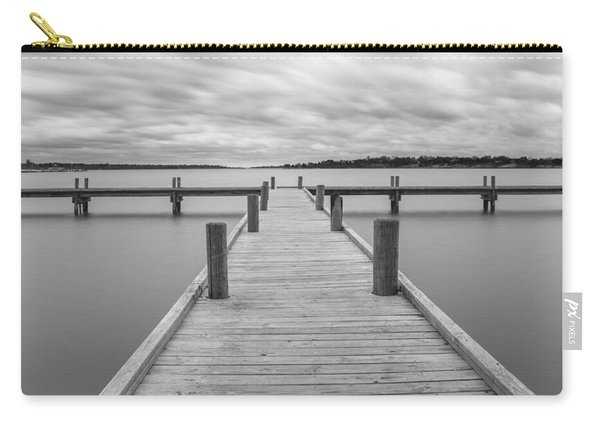 White Rock Lake Pier Black And White Carry-all Pouch