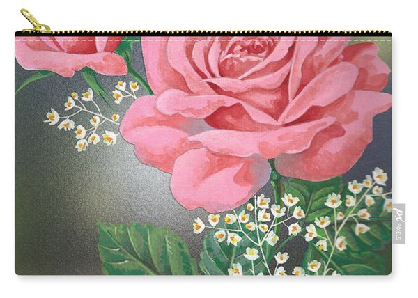 White Small Flowers And Roses Carry-all Pouch