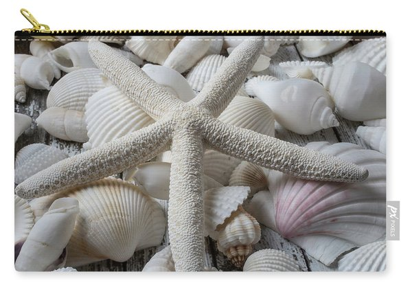 White Starfish On Seashells Carry-all Pouch