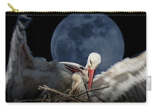 White Storks Of Fagagna With Full Moon Carry-all Pouch