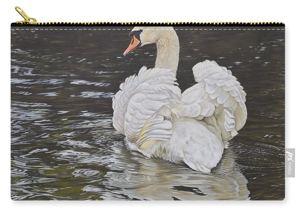 Carry-all Pouch featuring the painting White Swan by Alan M Hunt