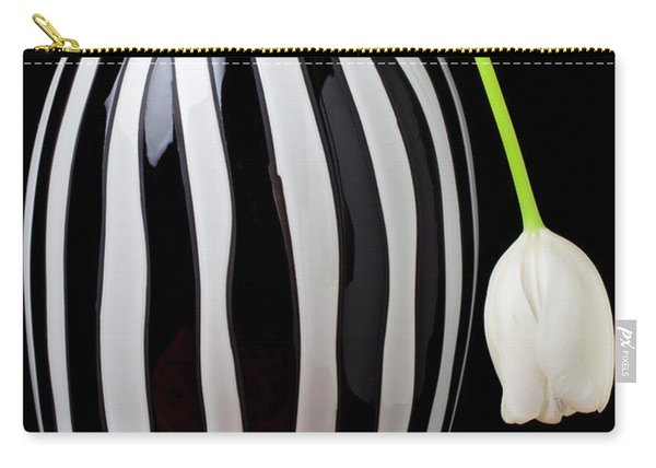 White Tulip In Striped Vase Carry-all Pouch