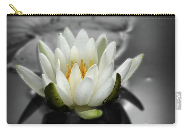 White Water Lily Black And White Carry-all Pouch