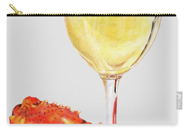 White Wine And Lobster Claw Carry-all Pouch