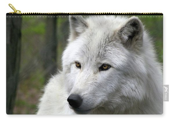 White Wolf With Golden Eyes Carry-all Pouch