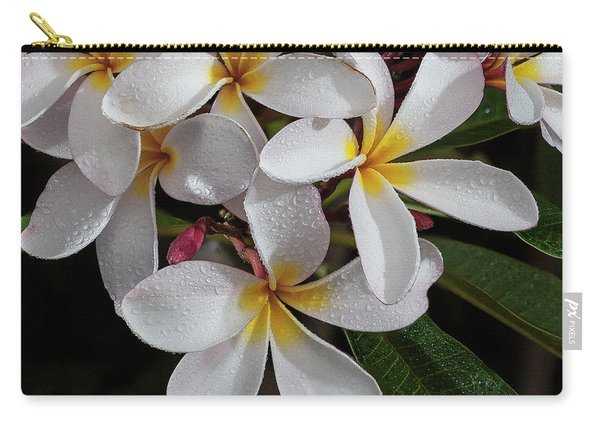White/yellow Plumerias In Bloom Carry-all Pouch