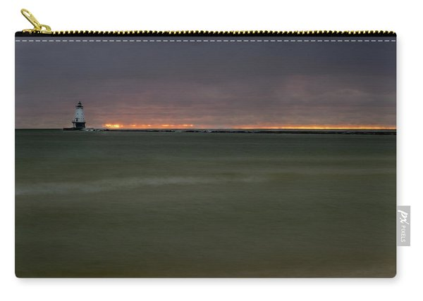 Wide View Of Lighthouse And Sunset Carry-all Pouch
