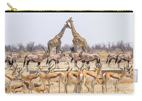 Carry-all Pouch featuring the photograph Wild Animals Pyramid by Benny Marty