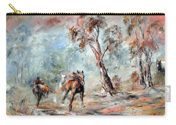 Carry-all Pouch featuring the painting Wild Brumbies by Ryn Shell