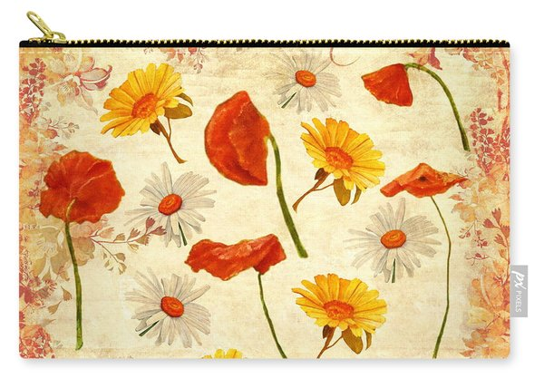 Carry-all Pouch featuring the mixed media Wild Flowers Vintage by Angeles M Pomata