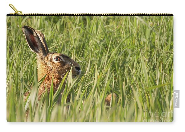 Wild Hare Close Up In Crops Carry-all Pouch