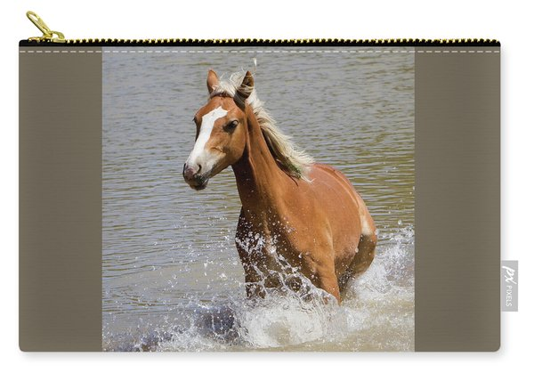Wild Horse Splashing At The Water Hole Carry-all Pouch