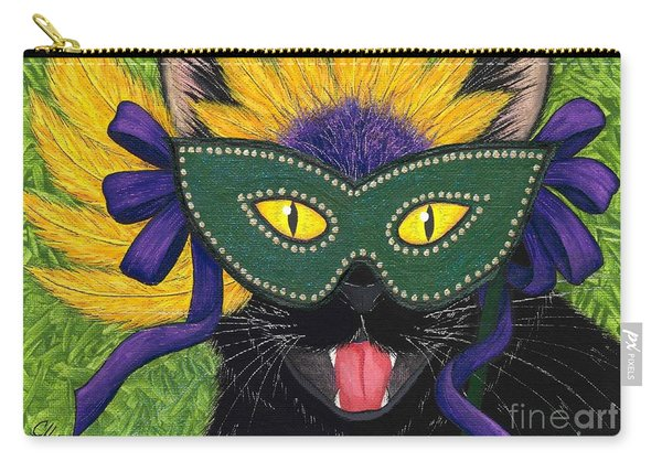 Wild Mardi Gras Cat Carry-all Pouch