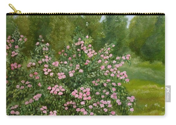 Carry-all Pouch featuring the painting Wild Roses by Angeles M Pomata