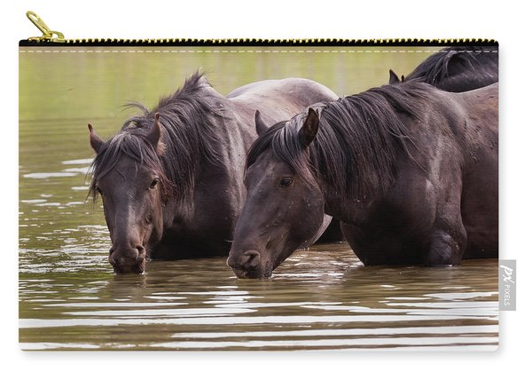 Wild Stallions At The Water Hole Carry-all Pouch