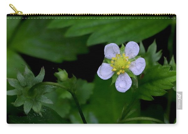 Wild Strawberry Blossom And Raindriops Carry-all Pouch