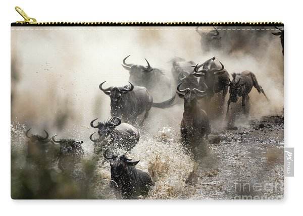 Wildebeest Herd Crossing The Mara River Carry-all Pouch