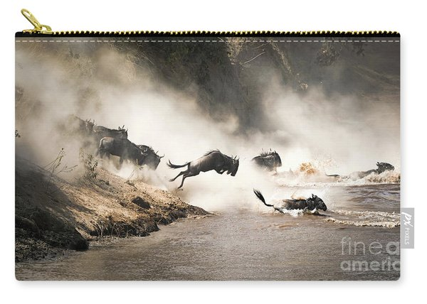 Wildebeest Leap Of Faith Into The Mara River Carry-all Pouch