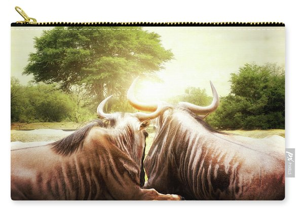 Wildebeest Looking Out Over African Sunset Carry-all Pouch