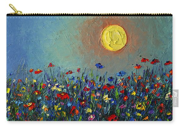 Wildflowers Meadow Sunrise Modern Floral Original Palette Knife Oil Painting By Ana Maria Edulescu Carry-all Pouch