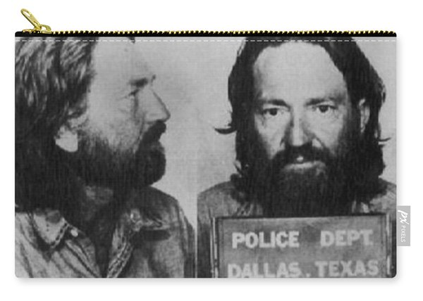Willie Nelson Mug Shot Horizontal Black And White Carry-all Pouch