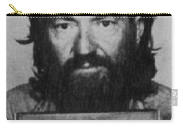 Willie Nelson Mug Shot Vertical Black And White Carry-all Pouch