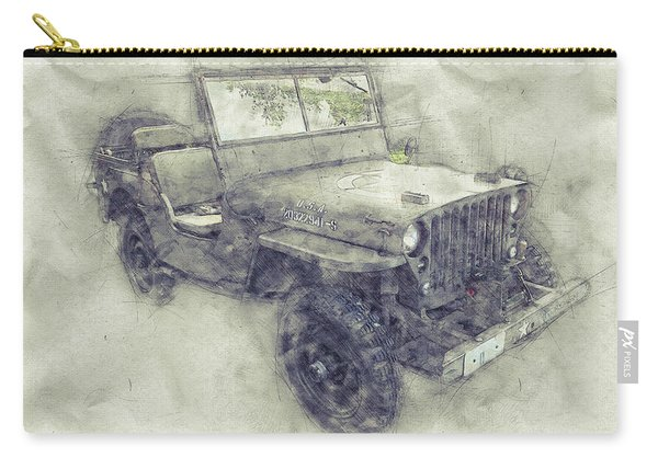 Willys Mb 1 - Ford Gpw - Jeep - Automotive Art - Car Posters Carry-all Pouch