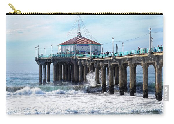 Carry-all Pouch featuring the photograph Windy Manhattan Pier by Michael Hope