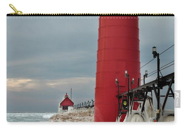 Winter At Grand Haven Lighthouse Carry-all Pouch