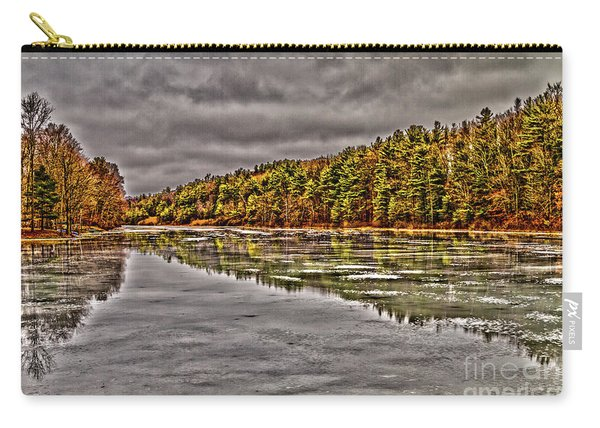 Carry-all Pouch featuring the photograph Winter At Pine Lake by William Norton