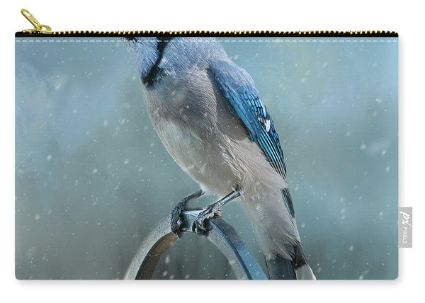 Winter Blue Jay Square Carry-all Pouch