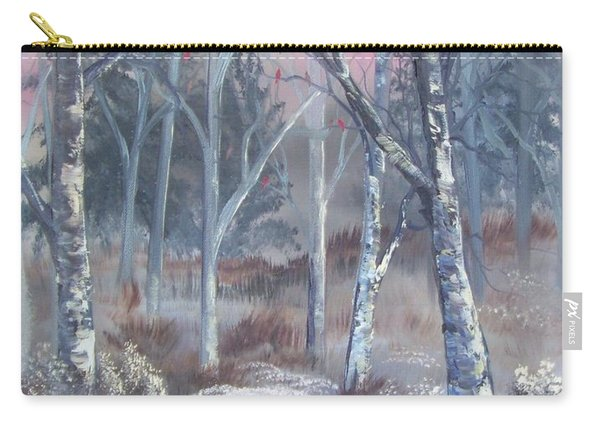 Carry-all Pouch featuring the painting Winter Cardinals by Deleas Kilgore