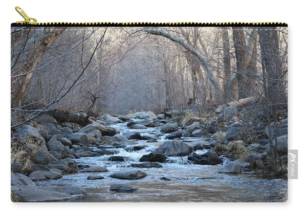 Carry-all Pouch featuring the photograph Winter Creek  by Christy Pooschke