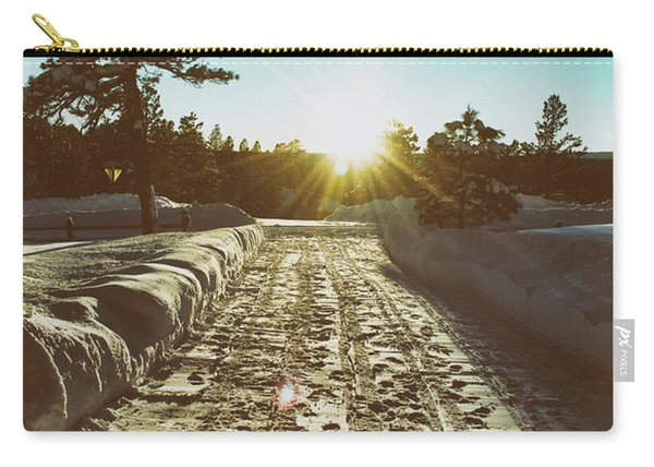 Carry-all Pouch featuring the photograph Winter Driveway Sunset by Jason Coward