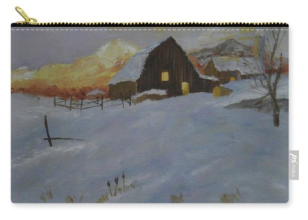 Winter Dusk On The Farm Carry-all Pouch