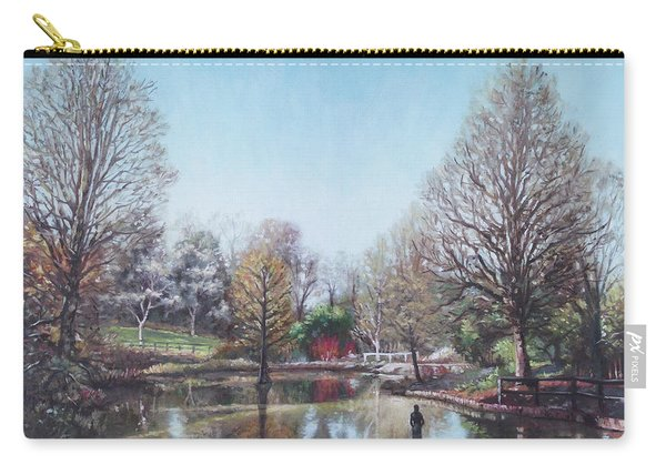 Carry-all Pouch featuring the painting Winter Hilliers Garden Hampshire by Martin Davey