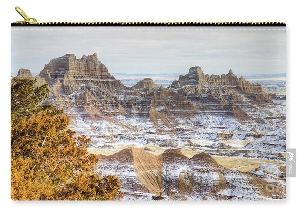 Carry-all Pouch featuring the photograph Winter In The Badlands by Bill Gabbert